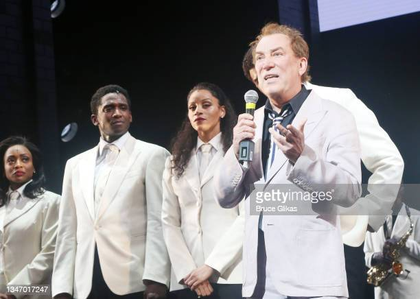 """Des McAnuff and cast during the re-opening night curtain call for """"Ain't Too Proud- The Life & Times of The Temptations"""" on Broadway at The Imperial..."""
