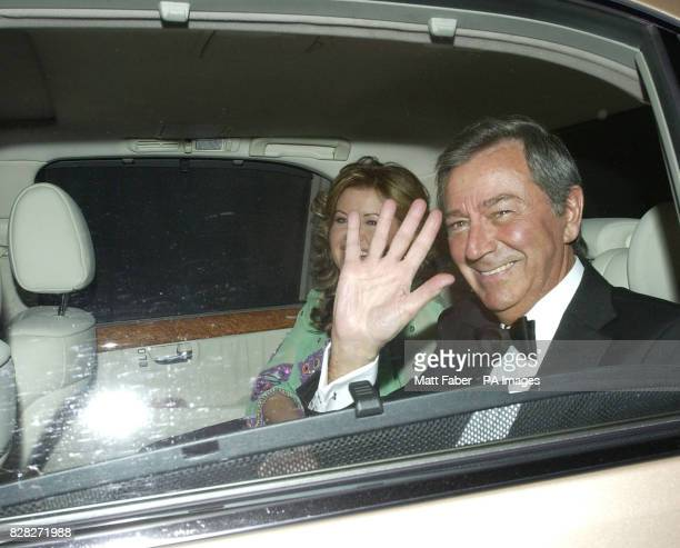 Des O'Connor arrives at the reception party for Sir Elton John and David Furnish at their Old Windsor mansion Wednesday December 21 2005 The couple...