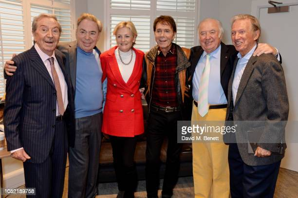 Des O'Connor Lord Andrew Lloyd Webber Lady Madeleine Lloyd Webber Cliff Richard Jimmy Tarbuck and Tommy Steele attend the unveiling of the London...