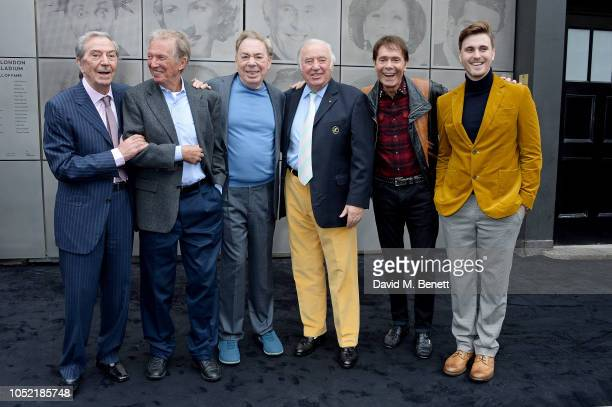 Des O'Connor Tommy Steele Lord Andrew Lloyd Webber Jimmy Tarbuck Sir Cliff Richard and Lee Simmons attend the unveiling of the London Palladium's...