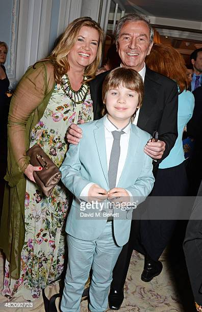Des O'Connor wife Jodie Brooke Wilson and son Adam O'Connor attend an after party following the press night performance of Dirty Rotten Scoundrels at...