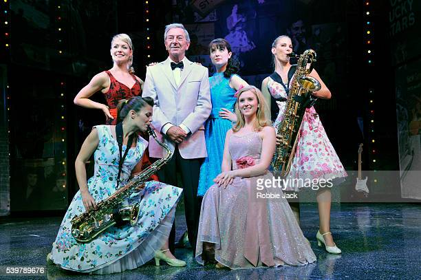 Des O'Connor with artists of the company in Dreamboats and Petticoats at the Playhouse Theatre in London
