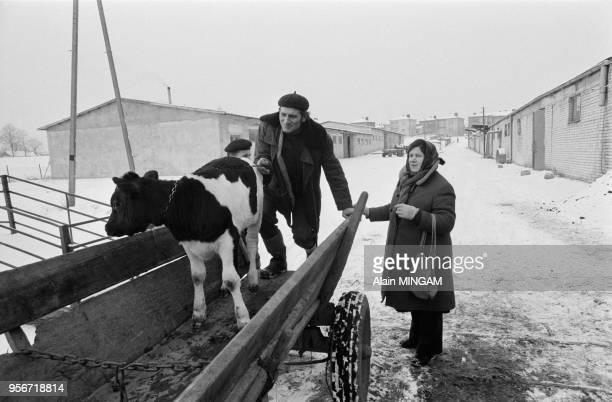 Des paysans viennet s'approvisionner dans une coopérative agricole d'état à Rszeszow en novembre 1980 Pologne