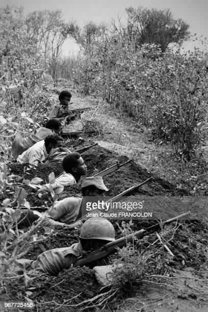 Des rebelles somaliens en planque dans une vallée lors du conflit entre l'Ethiopie et la Somalie le 18 février 1978 à Fiambiro Somalie