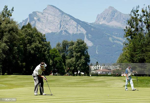 Des Smyth of Ireland in action during the final round of the Bad Ragaz PGA Seniors Open played at Golf Club Bad Ragaz on July 3, 2011 in Bad Ragaz,...
