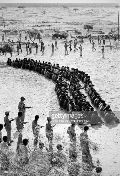 Des soldats somaliens surveillent les détenus éthiopiens lors du conflit armé entre la Somalie et l'Ethiopie en septembre 1977 en Somalie
