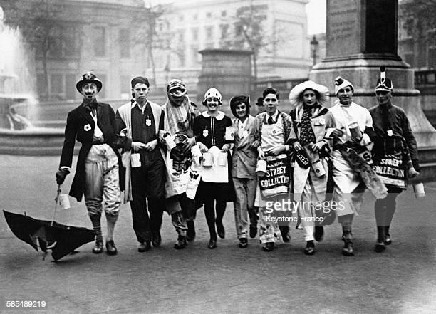 Des étudiants d'universités britanniques se déguisent et paradent sur Trafalgar Square à l'occasion d'un bal traditionnel organisé en faveur des...