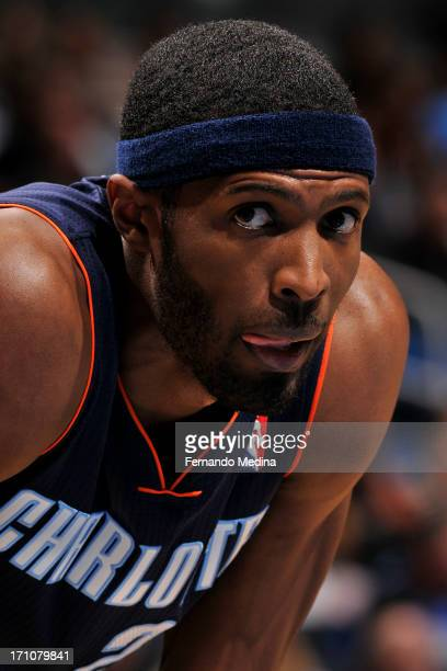 DeSagana Diop of the Charlotte Bobcats looks on against the Orlando Magic during the game on January 18 2013 at Amway Center in Orlando Florida NOTE...