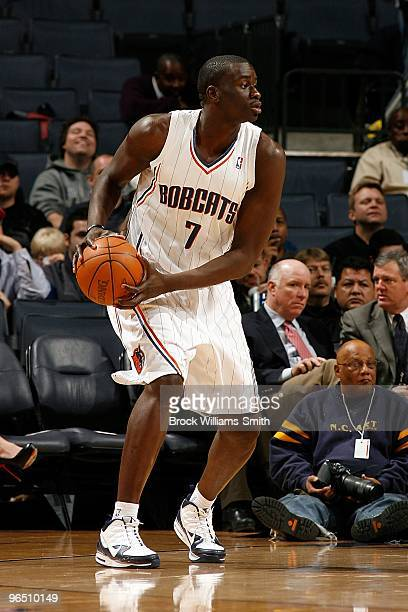 DeSagana Diop of the Charlotte Bobcats moves the ball to the basket during the game against the Houston Rockets on January 12 2010 at Time Warner...
