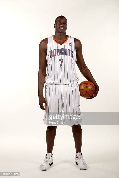 DeSagana Diop of the Charlotte Bobcats poses for a portrait during the 2010 NBA Media Day on September 27 2010 at Time Warner Cable Arena in...