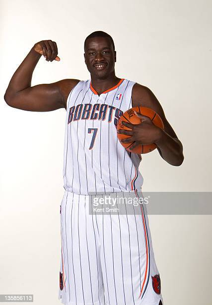 DeSagana Diop of the Charlotte Bobcats poses for his portrait during the Charlotte Bobcats Media Day on December 15 2010 at the Time Warner Cable...