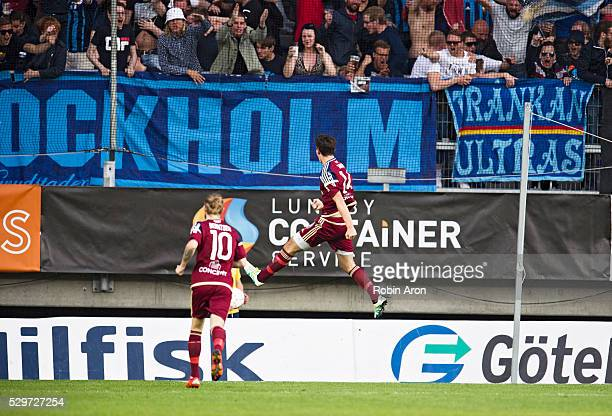 Desard Sabovic of Djurgardens IF celebrates after scoring the opening 01 during the Allsvenskan match between IFK Goteborg and Djurgardens IF at...