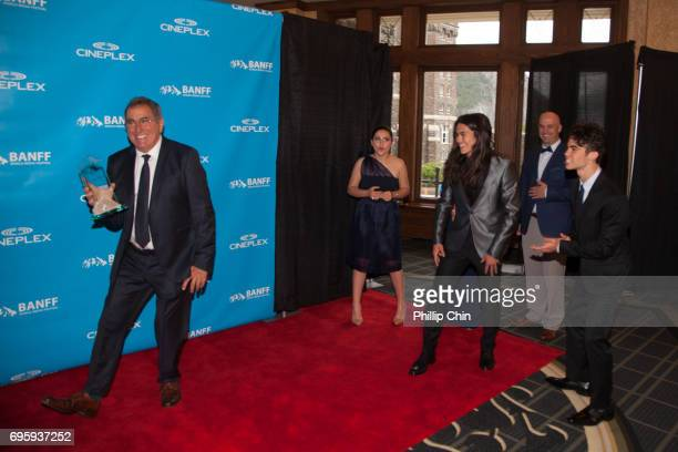 'Descedants 2' Executive Producer Ken Ortega has fun with his cast Brenna D'Amico Booboo Stewart and Cameron Boyce at the Rockie Awards Gala...