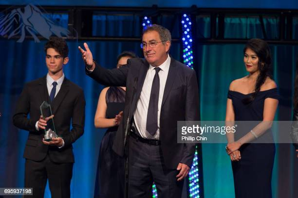'Descedants 2' Executive Producer Ken Ortega receives the Award of Excellence from his cast Cameron Boyce Brenna D'Amico Dianne Doan and Booboo...