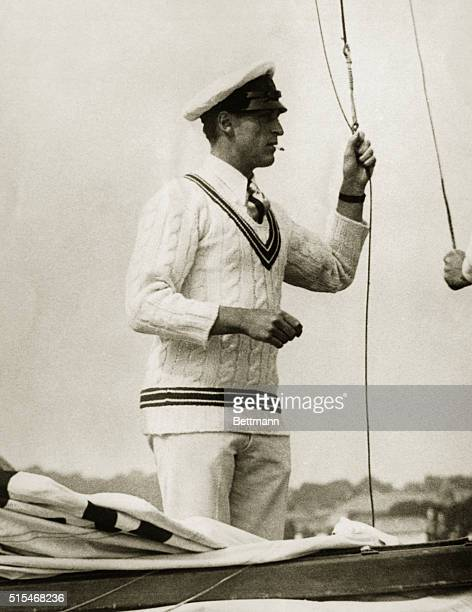 Descendant of Viking Kings Sails at Cowes Regatta Crown Prince Olaf of Norway shown with his yacht Oslo with which he won the trophy for sixmeter...