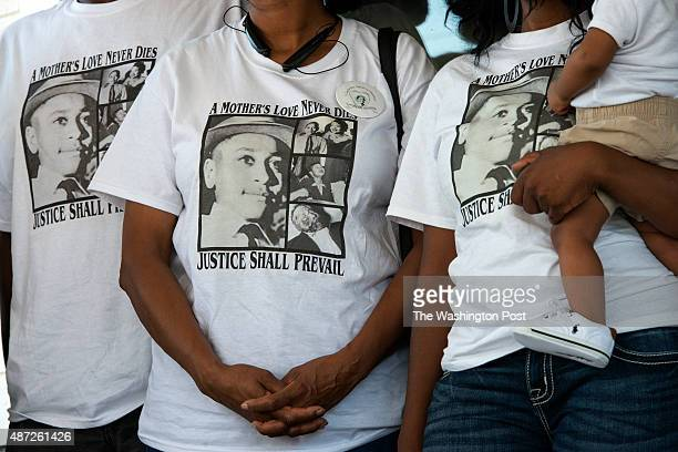 Descendants of Emmett Till gather outside of an old service station in Money Mississippi on August 29 2015 The service station is next to what...