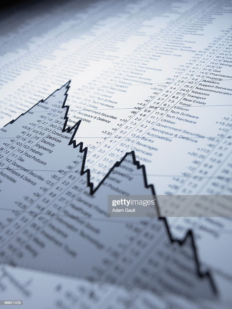 Descending line graph on list of share prices : Stock Photo