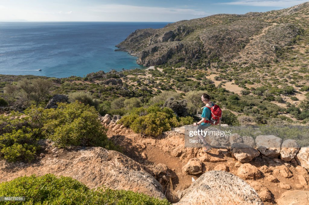 Descent into Agios Kirikos Bay, Crete. : Stock Photo