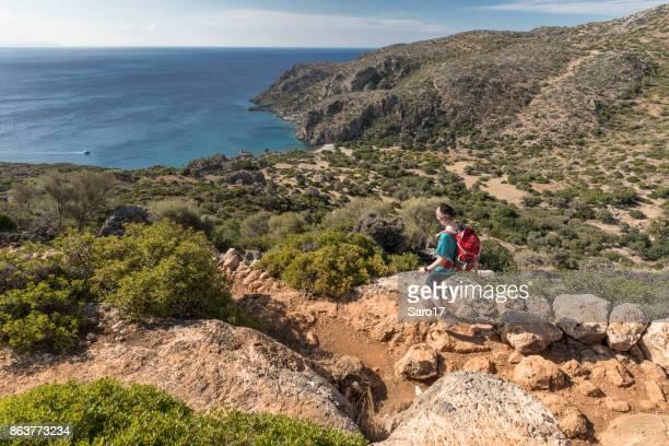 Descent into Agios Kirikos Bay, Crete.