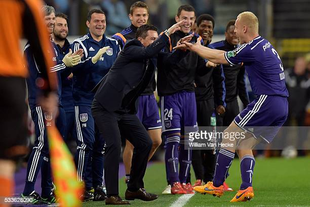 Deschacht Olivier defender of Rsc Anderlecht celebrates scoring 10 with Besnik Hasi head coach of Rsc Anderlecht during the Jupiler Pro League...