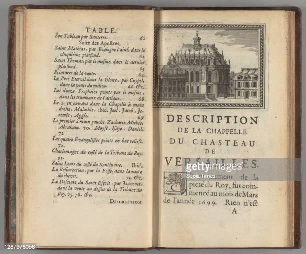 Description de la chapelle du chasteau de Versailles, et des ouvrages de sculpture et de peinture, Andre Felibien Paris, France, [6] [12] pages: 5...