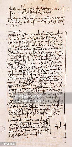 Description of the third voyage of Christopher Columbus from the Livro das Armadas manuscript 1498 Seville Archivo General De Indias