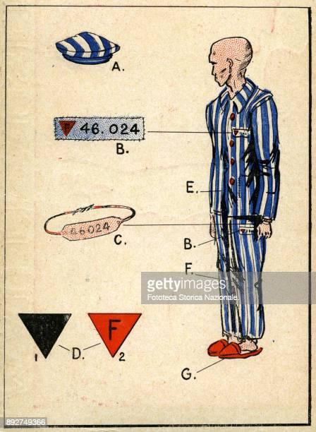 Description of the uniform of a prisoner at Mauthausen Print chromos from the booklet 'Mauthausen plus jamais ça' containing documentary photographs...