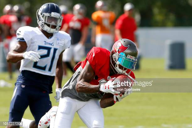 DeSean Jackson of the Buccaneers reaches out to make a catch on the fly pattern and then scores as Malcolm Butler of the Titans defends during the...