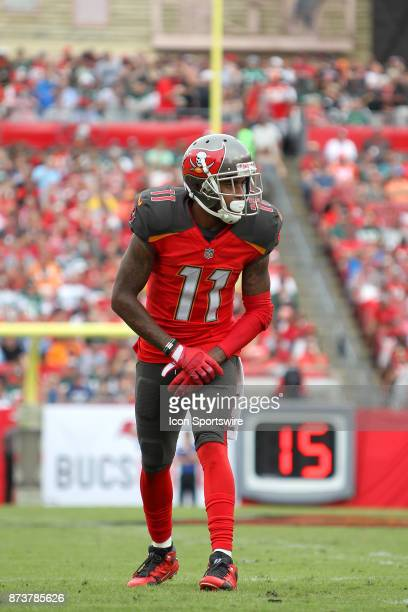 DeSean Jackson of the Bucs waits for the snap of the ball during the regular season game between the New York Jets and the Tampa Bay Buccaneers on...