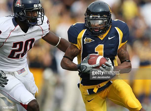 DeSean Jackson of the California Golden Bears runs against Cam Nelson of the Arizona Wildcats during an NCAA football game at Memorial Stadium...