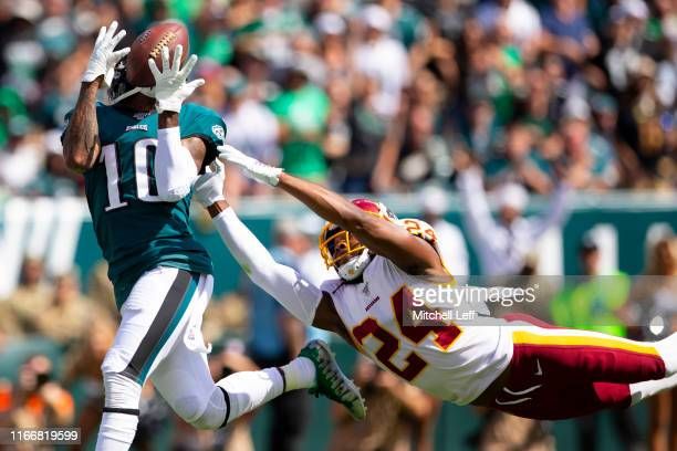 DeSean Jackson of the Philadelphia Eagles catches a touchdown against Josh Norman of the Washington Redskins in the second quarter at Lincoln...