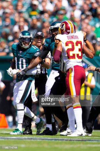 DeSean Jackson of the Philadelphia Eagles gets into an altercation with Quinton Dunbar of the Washington Redskins in the first quarter at Lincoln...