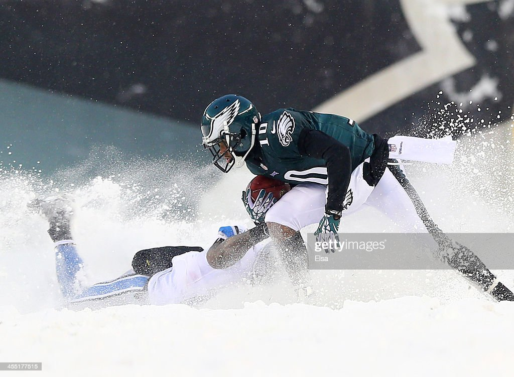 DeSean Jackson #10 of the Philadelphia Eagles is tackled by Jeremy Ross #12 of the Detroit Lions on December 8, 2013 at Lincoln Financial Field in Philadelphia, Pennsylvania.The Philadelphia Eagles defeated the Detroit Lions 34-20.