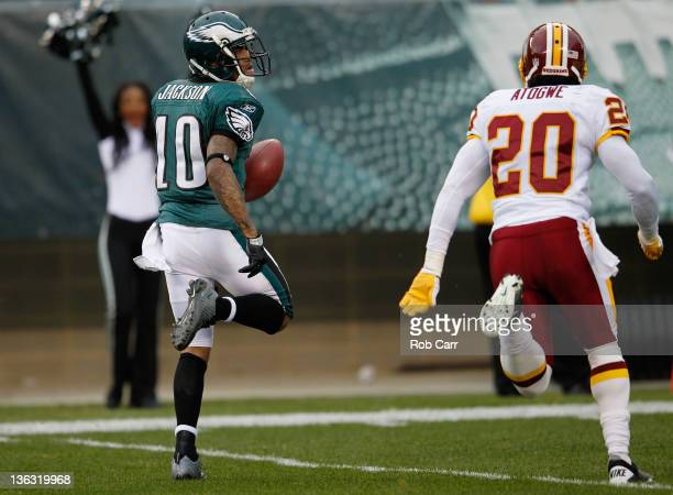 DeSean Jackson of the Philadelphia Eagles outruns Oshiomogho Atogwe of the Washington Redskins for a touchdown after catching a pass during the...