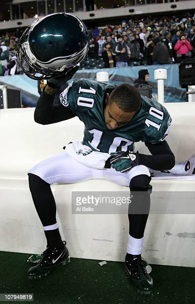 DeSean Jackson of the Philadelphia Eagles reacts after their 16 to 21 loss to the Green Bay Packers during the 2011 NFC wild card playoff game at...