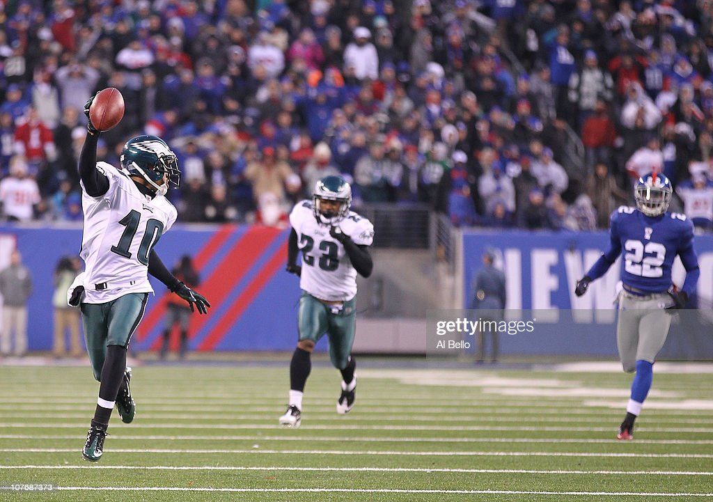 DeSean Jackson #10 of the Philadelphia Eagles returns a punt for the winning touchdown as time runs out defeating the New York Giants 38-31 during their game on December 19, 2010 at The New Meadowlands Stadium in East Rutherford, New Jersey.