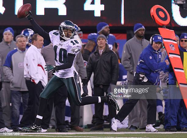 DeSean Jackson of the Philadelphia Eagles runs in the game winning touchdown on a punt return against the New York Giants at New Meadowlands Stadium...
