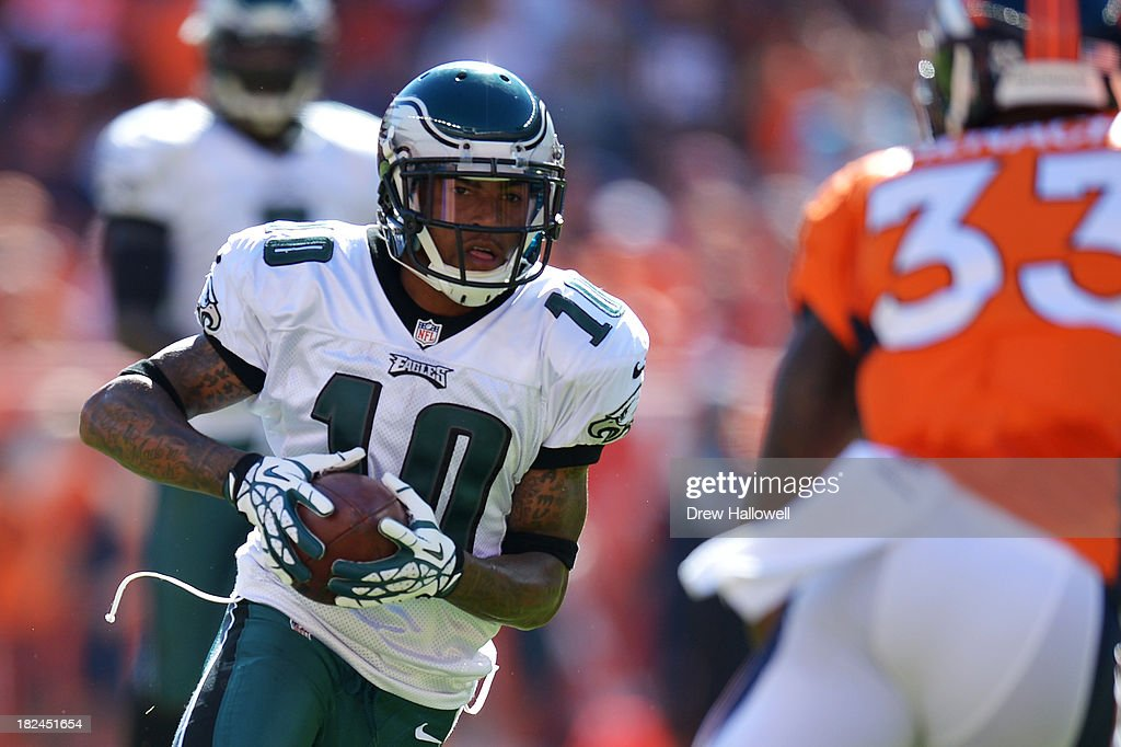 DeSean Jackson #10 of the Philadelphia Eagles runs the ball after a catch against the Denver Broncos at Sports Authority Field at Mile High on September 29, 2013 in Denver, Colorado.