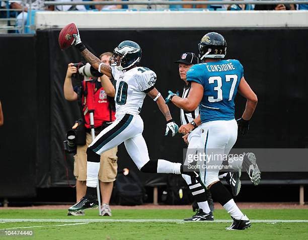 DeSean Jackson of the Philadelphia Eagles runs with a catch for a touchdown against the Jacksonville Jaguars at EverBank Field on September 26 2010...