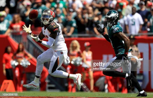 DeSean Jackson of the Tampa Bay Buccaneers catches a touchdown pass during a game against the Philadelphia Eagles at Raymond James Stadium on...