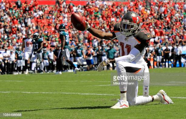 DeSean Jackson of the Tampa Bay Buccaneers celebrates a first down during a game against the Philadelphia Eagles at Raymond James Stadium on...