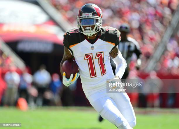 DeSean Jackson of the Tampa Bay Buccaneers makes a catch during the second quarter against the Cleveland Browns on October 21 2018 at Raymond James...