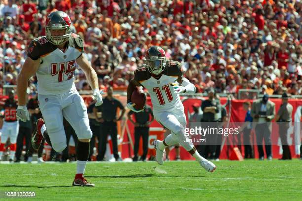 DeSean Jackson of the Tampa Bay Buccaneers runs the ball with Alan Cross lead blocking in the second quarter against the Cleveland Browns at Raymond...