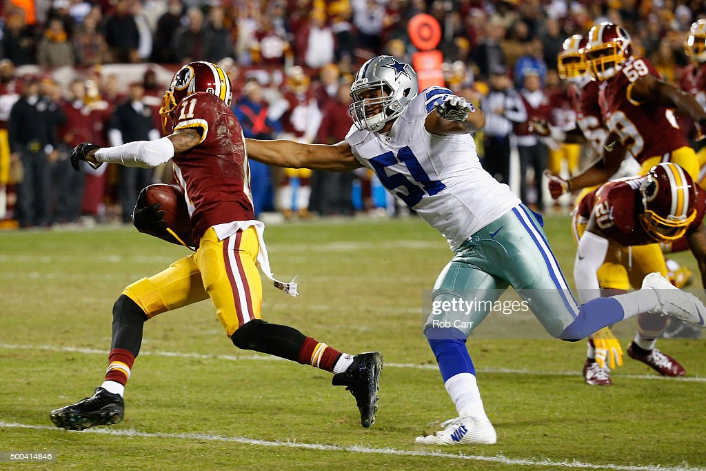 DeSean Jackson #11 of the Washington Redskins eludes the tackle of Kyle Wilber #51 of the Dallas Cowboys while returning a punt in which he fumbled on late in the fourth quarter of the Cowbosy 19-16 win at FedExField on December 7, 2015 in Landover, Maryland.