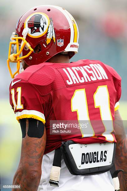 DeSean Jackson of the Washington Redskins is seen on the field before playing against the Philadelphia Eagles at Lincoln Financial Field on September...