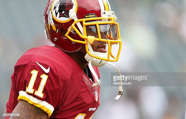 DeSean Jackson of the Washington Redskins looks on before playing against the Philadelphia Eagles at Lincoln Financial Field on September 21 2014 in...