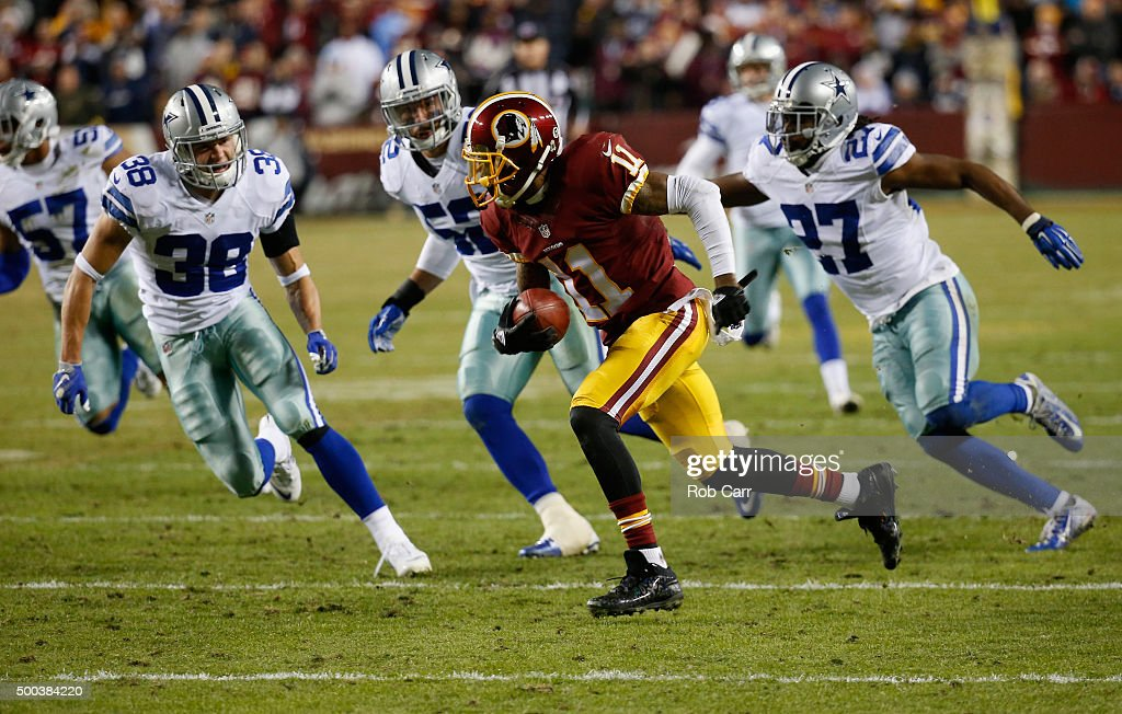 DeSean Jackson #11 of the Washington Redskins returns a punt he later fumbled against the Dallas Cowboys during the Cowboys 19-16 win at FedExField on December 7, 2015 in Landover, Maryland.