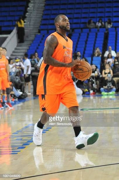 DeSean Jackson participates in Monster Energy Outbreak $50K Charity Challenge celebrity basketball game at UCLA on July 17 2018 in Los Angeles...