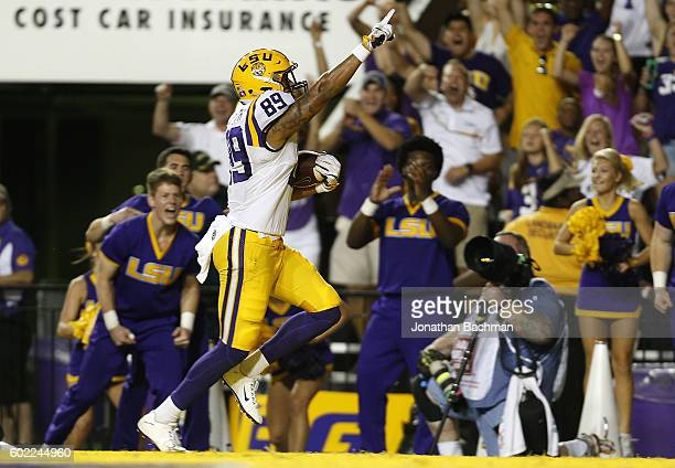 DeSean Smith of the LSU Tigers scores a touchdown on a 46yard reception during the first half of a game against the Jacksonville State Gamecocks at...