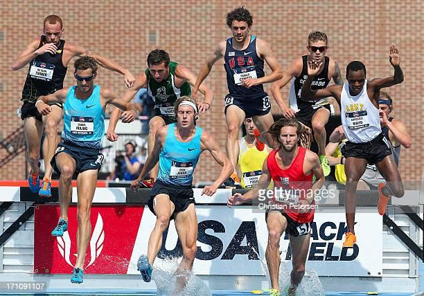De'Sean Turner, Daniel Huling, Tabor Stevens, Evan Jager, Donald Cowart, David Goodman and Augustus Maiyo compete in the Men's 3000 Meter...
